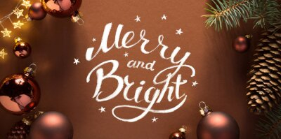 Christmas Tree holidays ornament flat lay; Christmas card background