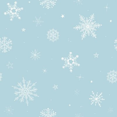 Christmas winter seamless pattern with flying snowflakes on turquoise background. Hand drawn vector illustration