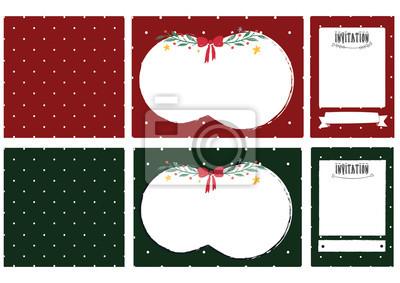 christmas zestaw słodkie polkadot zaproszenia