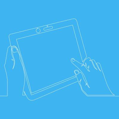 Ciągła jedna linia rysująca ręka trzymająca tablet
