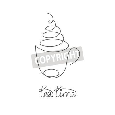 Ciągła linia gorącej herbaty lub kawy z parą. Czarno-biały ilustracja na białym tle wektor. Jeden rysunek linii. Ręcznie rysowane element logo kawiarni, zapraszając karty, baner, plakat sprzedaż, ulot