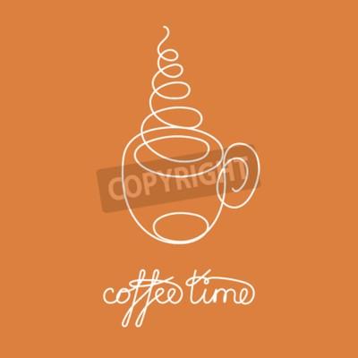 Ciągła linia gorącej herbaty lub kawy z parą i dekoracją w formie serca. Ilustracji wektorowych. Jeden rysunek linii. Ręcznie rysowane element logo kawiarni, zapraszając karty, baner, plakat sprzedaż,