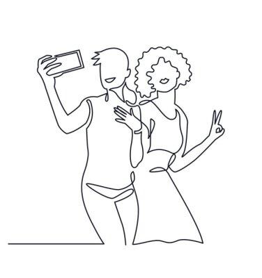 Ciągłe rysowanie jednej linii pary kochanków Selfie lgbt. Ta sama miłość ilustracji wektorowych. Szczęśliwa lgbt dziewczyny mienia smartphone, robi selfie fotografii z uśmiechem i szczęściem