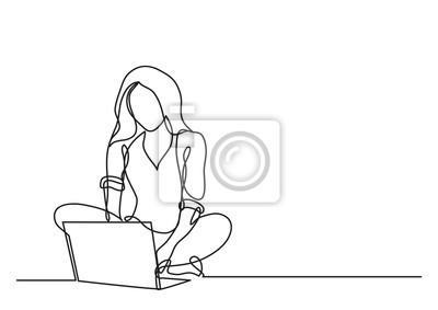 Naklejka ciągłego rysowania linii kobieta z komputera przenośnego