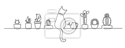 Naklejka Ciągły jeden rysunek linii wektor ładny kaktus. Szkic czarno-biały Rośliny domowe z kotem i konewką na parapecie.