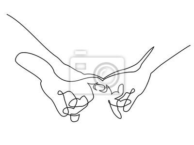 Ciągły jeden rysunek liniowy. Ręce kobiety i mężczyzny gospodarstwa razem z małymi palcami. Ilustracji wektorowych. Koncepcja logo, karty, baner, ulotka plakat