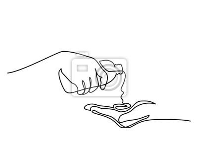 Ciągły jeden rysunek liniowy. Ręce leje olej do leczenia uzdrowiskowego. Ilustracji wektorowych