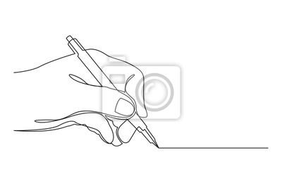 Naklejka ciągły rysunek linii linii rysunku za pomocą pióra