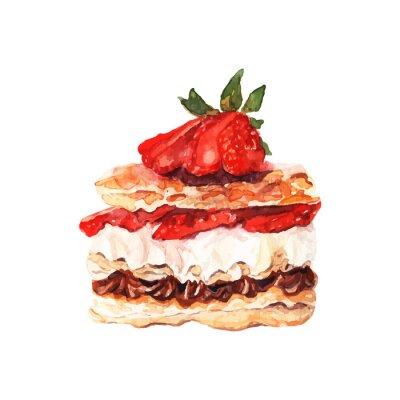Naklejka Ciasto z jagodami wyciągnąć akwarela. Projektowanie banerów i kart.