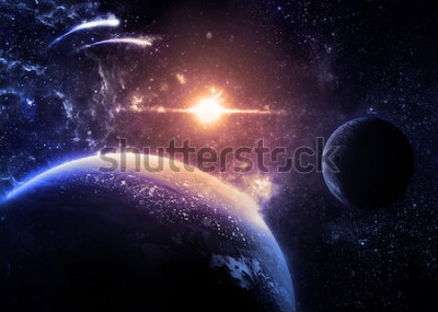 Naklejka Ciemna planeta i księżyc nad świecącą gwiazdą - elementy tego zdjęcia dostarczone przez NASA