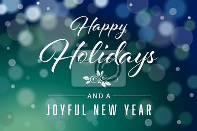 Naklejka Ciemnozielone szczęśliwe wakacje i Radosny nowy rok Horyzontalny wektor 2