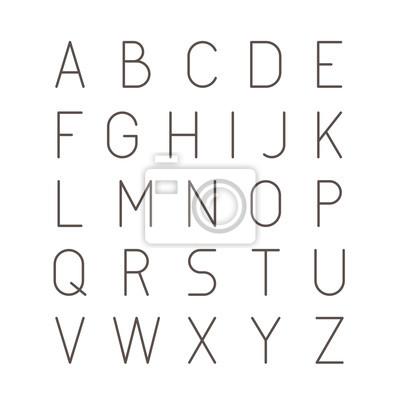 Cienka Futurystyczna Linia Czcionki. Slim Latin Latin Alphabet Typografia Wektorowa na Białym Tle