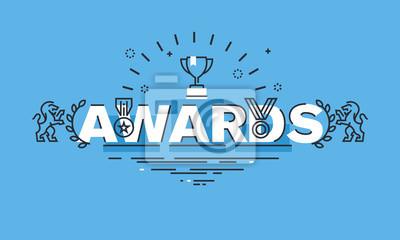 Cienka linia do koncepcji projektu nagrody stronie banera. Koncepcja ilustracji wektorowych zawiera informacje na temat nagród dla sukcesu, osiągnięć sportowych, jakości produktów, pracy charytatywnej