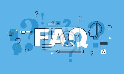 Cienka linia do koncepcji projektu strony FAQ sztandarem. Koncepcja ilustracji wektorowych dla często zadawane pytania lub pytań i odpowiedzi, obsługi klienta lub klientów, produktów i informacji o us