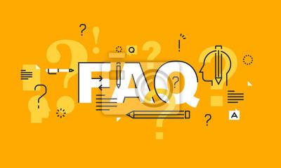Cienka linia płaska transparent na stronie FAQ, wsparcie online, pomoc, produktach i usługach. Nowoczesne ilustracji wektorowych pojęcie word FAQ na stronie internetowej i mobilnej stronie banery.