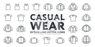 Cienka Linia Suwaczka Casual Sportswear Menswear Odzież Vector Ikony Ustaw: T-shirt, Tank Top, Polo, Sweter, Bluza, Kardigan, Skórzana Kurtka, Bomber, Bluza z Kapturem, Pea Coat.