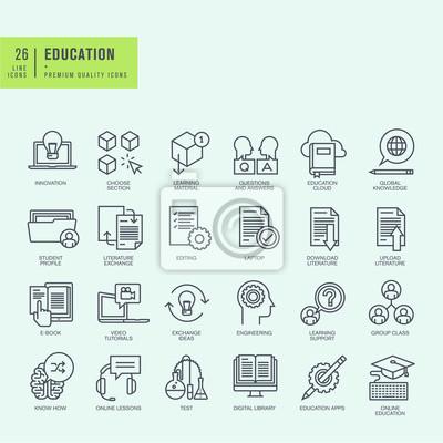 Cienkie linie ikony ustaw. Ikony dla edukacji online, ebook, edukacja App.
