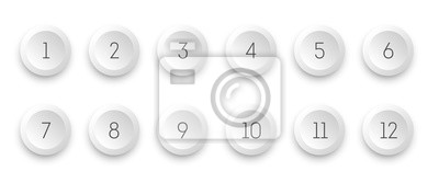 Naklejka Circle 3d icon set with number bullet point from 1 to 12.