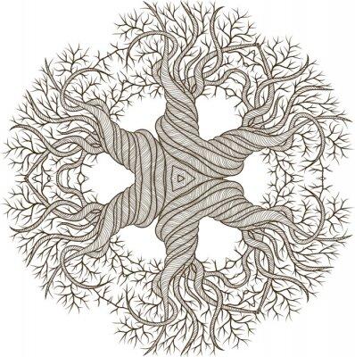 Naklejka Circular ornament z abstrakcyjna drzewa z curling baryłkę.