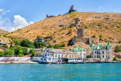 Naklejka City landscape of Crimea and the Black Sea coast Resort town