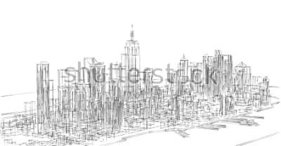 Naklejka city, panorama, 3d illustration