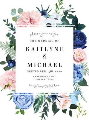 Naklejka Classic blue rose, blush pink hydrangea, ranunculus, dahlia, thistle flowers