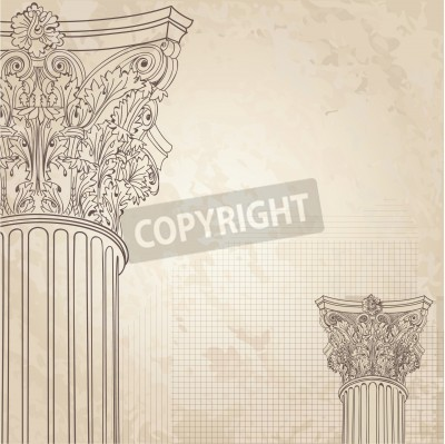 Naklejka Classic columns seamless background. Roman corinthian column. Illustration onold paper background for design sketch