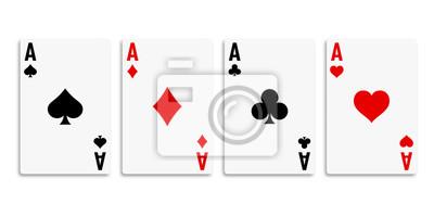 Naklejka Classic four aces on white background. Vector illustration.