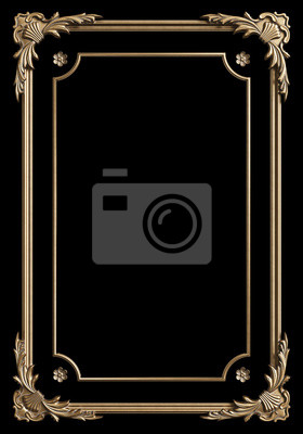 Naklejka Classic moulding frame with ornament decor gold color for classic interior isolated on black background. Digital illustration. 3d rendering