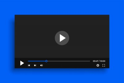 Naklejka clean video player template with simple buttons