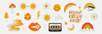 Naklejka Clipart of the 70s. Hippie style. Vector illustrations in simple linear style. Rainbows, flowers, abstractions, mushrooms, psychedelic style.