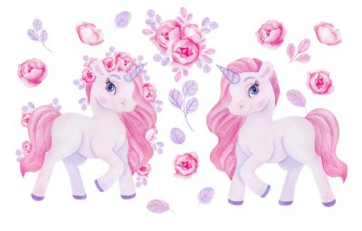 Naklejka Clipart with watercolor hand draw unicorn and flowers