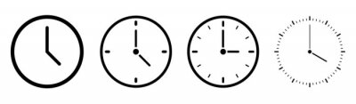 Naklejka Clock icons in line style set isolated on white background. Time icon. Vector