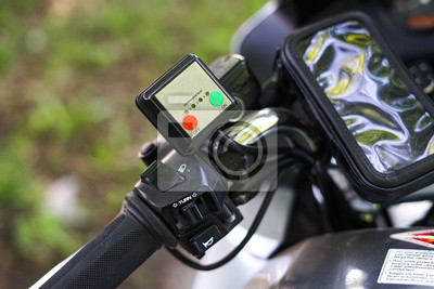 Close up motorcycle brake and clutch part. Scooter grip. heated grips.