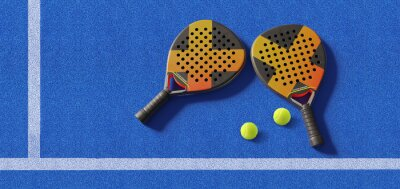 Naklejka Close up of  padel balls and rackets on a blue syntehtic playground. 3D rendering