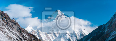 Naklejka Close up panoramic view of K2, the second highest mountain in the world with Angel peak and Nera peak on the left side, Concordia, Pakistan