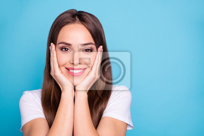 Close-up portrait of her she nice-looking attractive lovable gorgeous cheerful cheery straight-haired lady enjoying holiday isolated over bright vivid shine blue green teal turquoise background