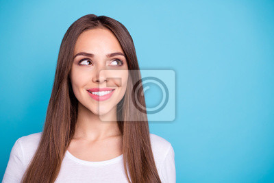 Close-up portrait of her she nice-looking attractive lovely lovable cheerful cheery straight-haired lady isolated over bright vivid shine blue green teal turquoise background