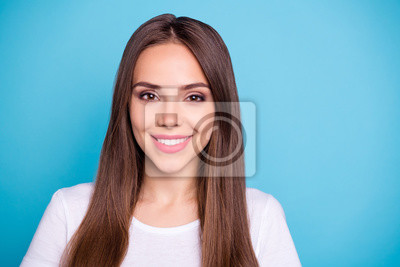 Close-up portrait of her she nice-looking attractive lovely lovable winsome pretty cheerful cheery straight-haired girl isolated over bright vivid shine blue background