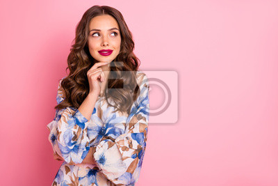 Close-up portrait of her she nice-looking attractive lovely pretty lovable fascinating cheerful cheery wavy-haired lady creating solution guessing isolated over pink pastel background