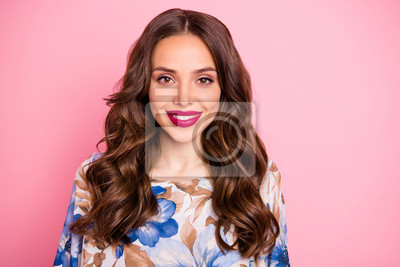 Close-up portrait of her she nice-looking attractive lovely pretty winsome lovable fascinating cheerful cheery wavy-haired lady isolated over pink pastel background