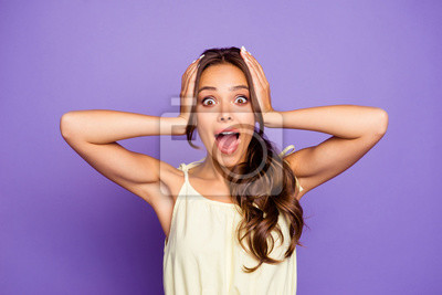 Close-up portrait of her she nice-looking attractive lovely winsome crazy cheerful cheery wavy-haired girl showing shock positive emotion expression isolated over violet pastel background
