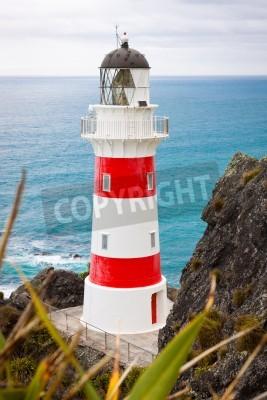 Naklejka Close-up z pięknej latarni morskiej na przylądku Palliser, Północnej Islandii, Nowej Zelandii