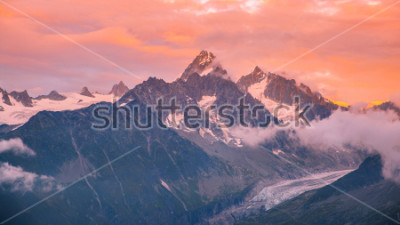 Naklejka Cloudy Sunset over Iconic Mont-Blanc Mountains Range and Glaciers
