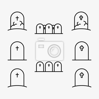 Cmentarz Gravestone Minimalistyczna liniowa linia Ikona obrysu Piktogram Zestaw zbioru symboli
