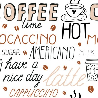Naklejka Coffee seamless pattern with lettering. Vector Sketch Illustration with hand written calligraphy. Text about different types of coffee. Americano, latte, cappuccino. Breakfast drinks theme