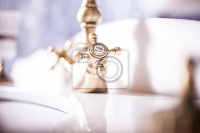 Cold water. bathroom interior in classic style