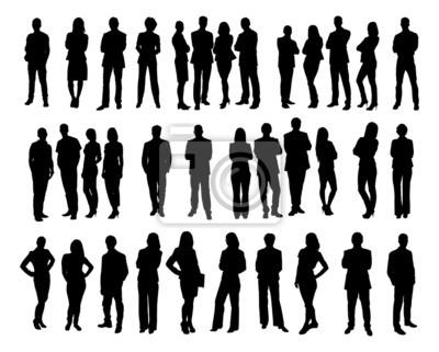 Naklejka Collage sylwetki ludzi biznesu