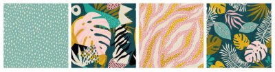Naklejka Collage tropical and polka dot seamless pattern set. Modern exotic design for paper, fabric, interior decor