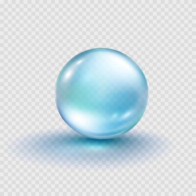 Collagen droplet isolated on transparent background. Realistic vector clear dew, blue pure drop, water bubble or glass ball template..
